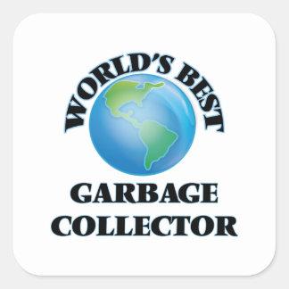 El mejor colector de la basura del mundo pegatina cuadrada