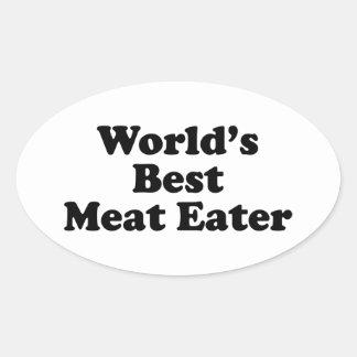 El mejor comedor de la carne del mundo pegatina ovalada