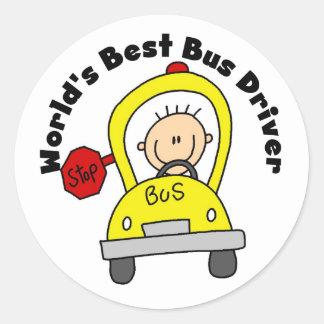 El mejor conductor del autobús del mundo pegatina redonda