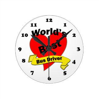 El mejor conductor del autobús del mundo reloj redondo mediano