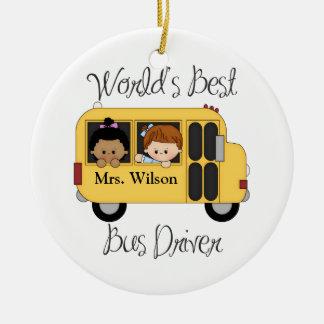 El mejor conductor del autobús escolar de los adorno navideño redondo de cerámica
