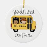 El mejor conductor del autobús escolar de los adorno redondo de cerámica