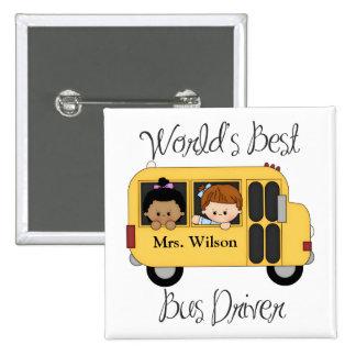 El mejor conductor del autobús escolar de los mund pin cuadrado