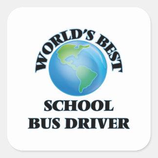 El mejor conductor del autobús escolar del mundo calcomanías cuadradas personalizadas