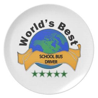 El mejor conductor del autobús escolar del mundo plato de cena