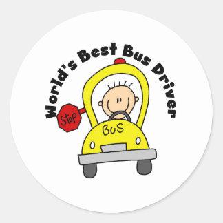 El mejor conductor del autobús etiqueta redonda