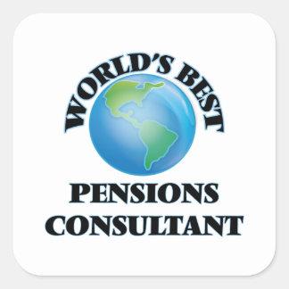 El mejor consultor de las pensiones del mundo calcomanía cuadradase
