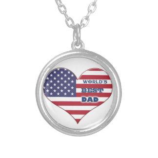 El mejor corazón de la bandera americana del papá collar plateado