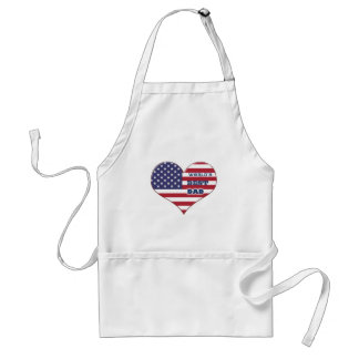 El mejor corazón de la bandera americana del papá delantal