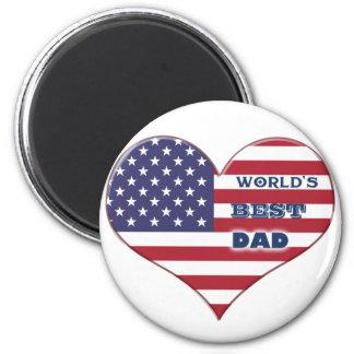 El mejor corazón de la bandera americana del papá imanes