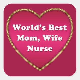 El mejor corazón de la enfermera de la esposa de pegatina cuadrada