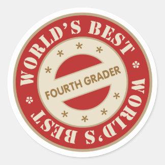 El mejor cuarto graduador de los mundos pegatina redonda