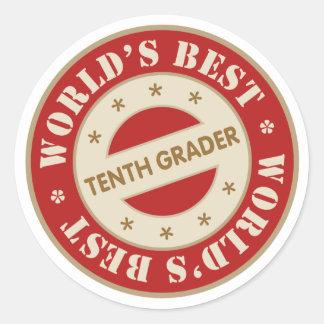 El mejor décimo graduador de los mundos pegatina redonda