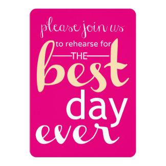 """El mejor día que casa nunca ensayo invita a rosa y invitación 5"""" x 7"""""""