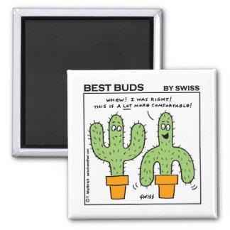 El mejor dibujo animado de los brotes del cactus imán cuadrado