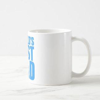 el mejor diseño azul del texto del día de padres taza clásica