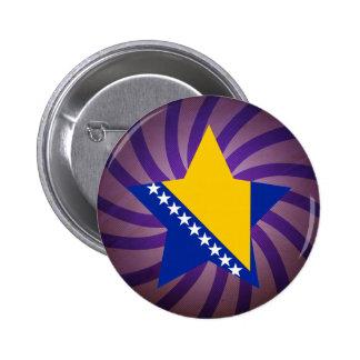 El mejor diseño de la bandera de Bosnia y Pin Redondo De 2 Pulgadas