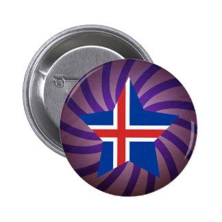 El mejor diseño de la bandera de Islandia Pin Redondo De 2 Pulgadas