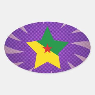 El mejor diseño de la bandera de la Guayana Pegatina Ovalada