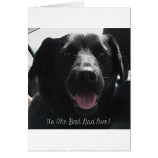 El mejor diseño del perro siempre negro del papá tarjeta de felicitación