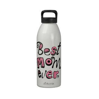 El mejor diseño del texto de la mamá nunca botella de agua reutilizable