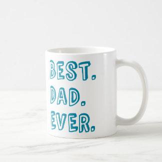 El mejor diseño del texto del papá nunca taza de café