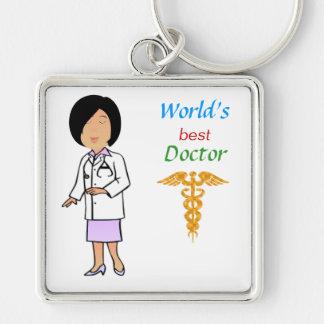 El mejor doctor Keychain del mundo Llavero Cuadrado Plateado
