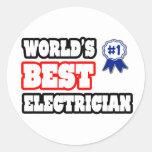El mejor electricista del mundo etiqueta redonda