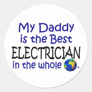 El mejor electricista en el mundo (papá) pegatina redonda
