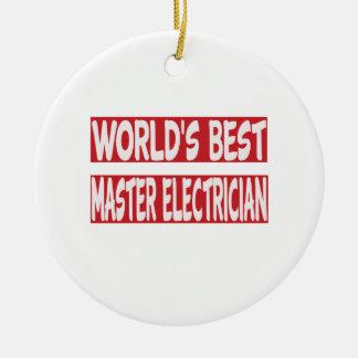 El mejor electricista principal del mundo adorno navideño redondo de cerámica
