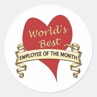 El mejor empleado del mundo del mes pegatina redonda