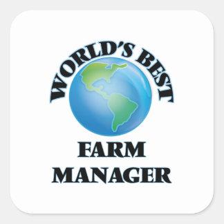 El mejor encargado de la granja del mundo calcomania cuadradas personalizada