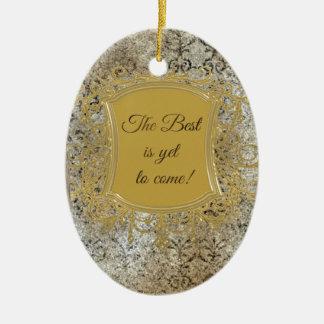 El mejor es todavía venir, borla en capítulo adorno navideño ovalado de cerámica