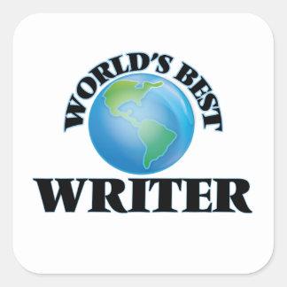 El mejor escritor del mundo pegatina cuadrada