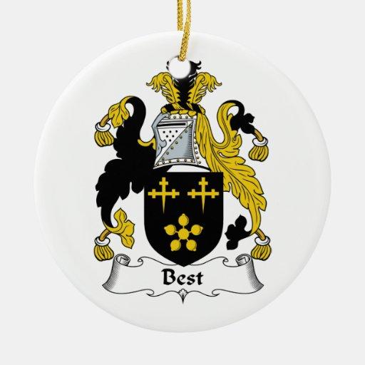 El mejor escudo de la familia adorno redondo de cerámica