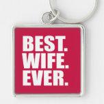 El mejor. Esposa. Nunca. (rosa) Llaveros