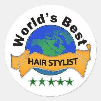 El mejor estilista del mundo pegatina redonda