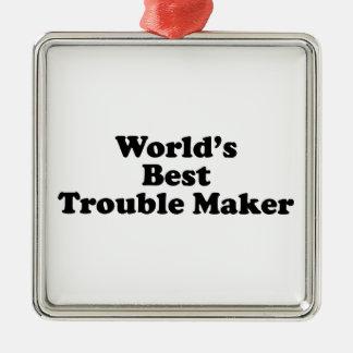 El mejor fabricante del problema del mundo adorno navideño cuadrado de metal