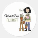 El mejor florista del mundo pegatina redonda