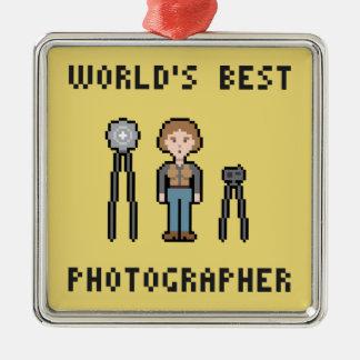 El mejor fotógrafo de sexo femenino del mundo adorno navideño cuadrado de metal
