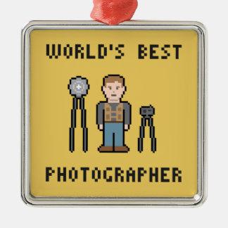 El mejor fotógrafo del pixel del mundo adorno navideño cuadrado de metal