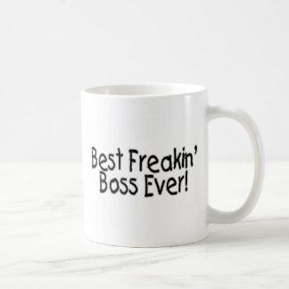 El mejor Freakin Boss nunca Taza Básica Blanca