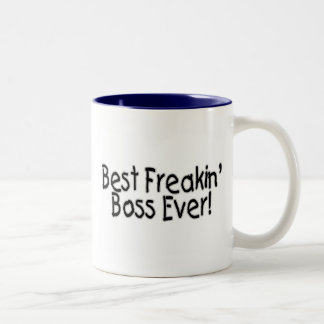 El mejor Freakin Boss nunca Taza De Dos Tonos