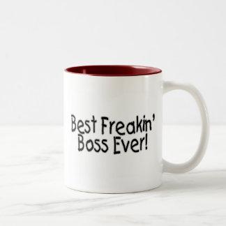 El mejor Freakin Boss nunca Taza Dos Tonos