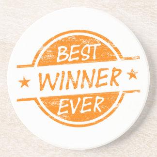 El mejor ganador siempre anaranjado posavasos personalizados