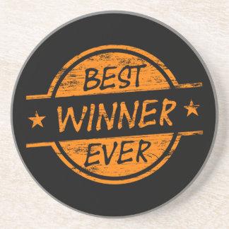 El mejor ganador siempre anaranjado posavasos diseño