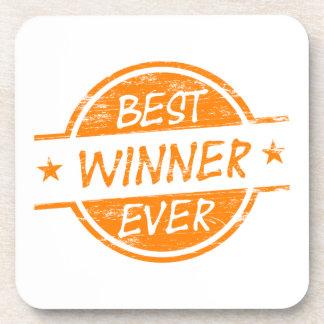 El mejor ganador siempre anaranjado posavasos de bebidas