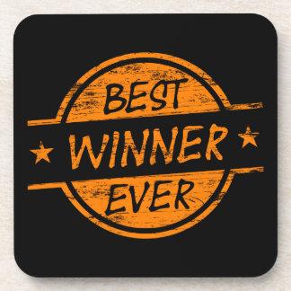 El mejor ganador siempre anaranjado posavasos de bebida
