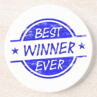 El mejor ganador siempre azul posavasos personalizados