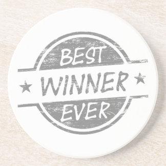 El mejor ganador siempre gris posavasos personalizados